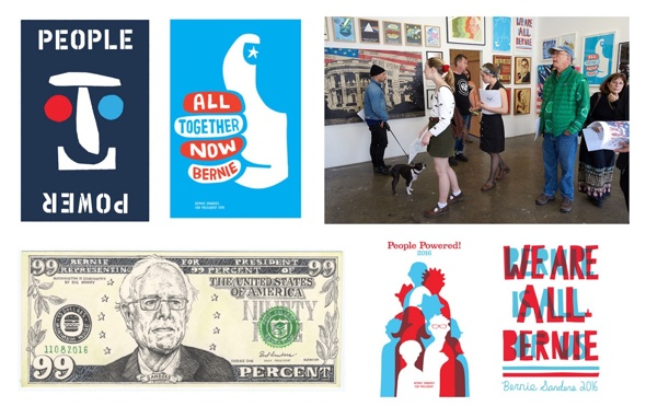 "Kunstwerke aus ""The Art of a Political Revolution""- Cody Hudson, Jackson Tupper, KozyNDan, Byron O'neil, Ellen Voorheis, photo- Mike Selsk:Bernie Sanders 2016"
