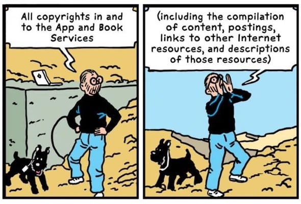 R Sikoryak turns Apple's terms & conditions into a parody of Hergé‎'s Adventures of Tintin.