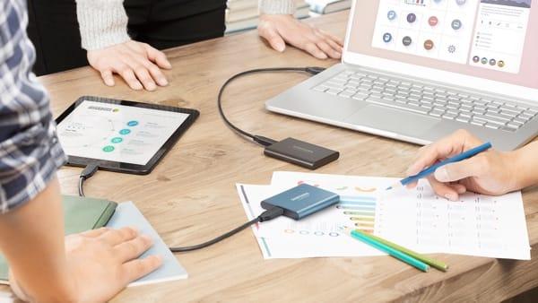 Neue Speicheranforderungen: Samsung portables SSD Laufwerk.
