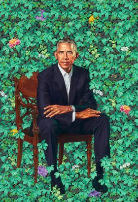 Kehinde Wiley&#039;s contemporay portrait of Barack Obama<