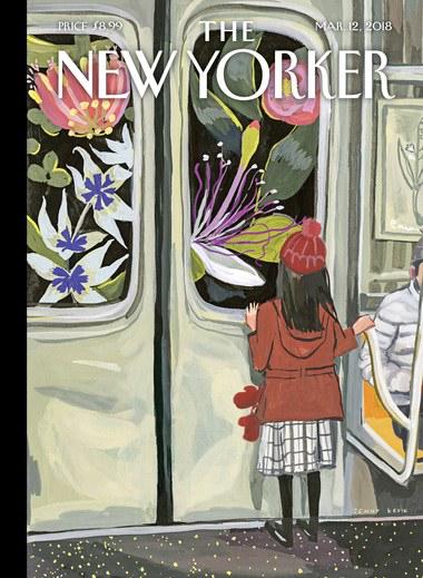 "New Yorker Magazintitel. ""Nächster Halt Frühling"" von Jenny Kroik."
