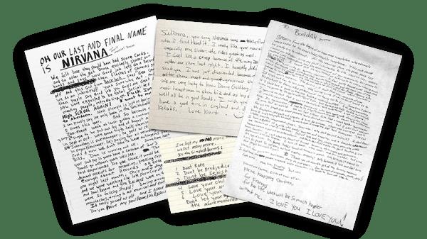 Kurt Cobain Handschrift angesammelt von Nicolas Damiens u. Julien Sens.