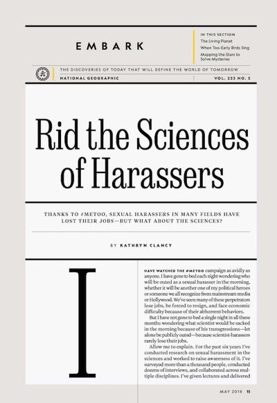 Interne Druckanzeige vom National Geographic Magazin zeigt den Umgang mit Typographie.