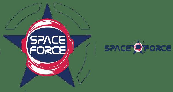 Noch unausgereift aber in Farbe. Space Force Logo Vorschlag von lesss.co, München.