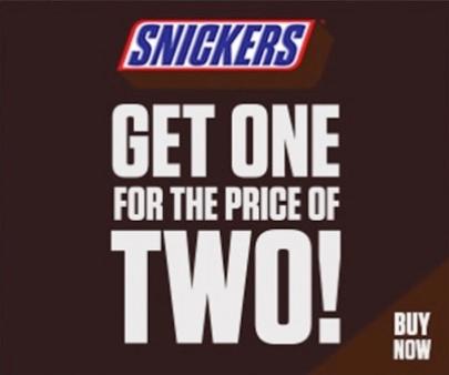 Ein Snickers zum Preis von zwei