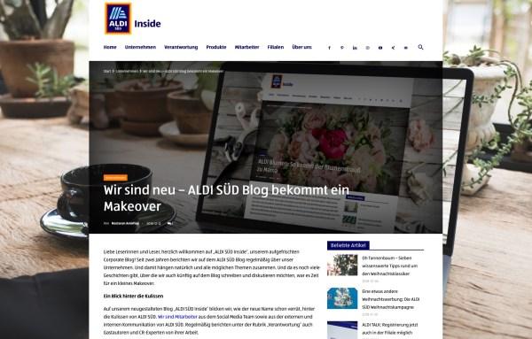 Mit deutlich weniger Farben in der Oberflächengestaltung, auf WordPress basierendem CMS, Open Source Standard und parallaktischen Effekten setzt Aldi seinen Unternehmensblog fort und nimmt Besucher mit auf die Reise dessen, was Aldi Mitarbeiter bewegt.