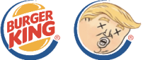 Burger King flame grills preceding typo in Donald Trump tweet to promote their product .  (Kollage basierend auf The Nib Illustration)