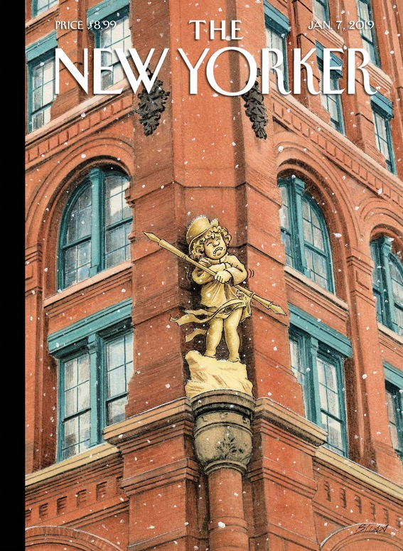 For the first cover of the New Year, Harry Bliss, a cartoonist at heart, chose to riff on the Puck Building, one of the great surviving structures of New York's old publishing district.