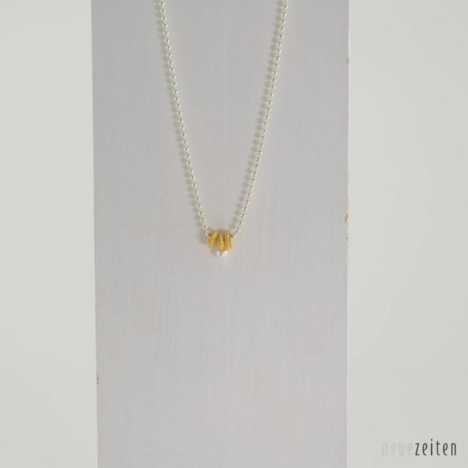 Produktbild Minimo - Kette Ringemit Perle Gold
