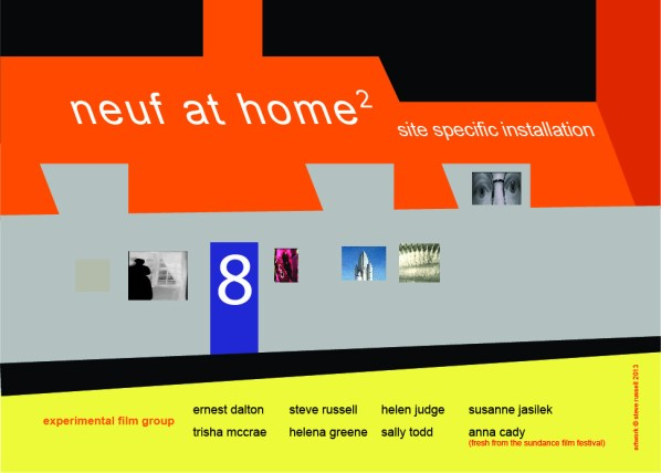 Flyer from Neuf Film collective At home series designed by Steve Russell