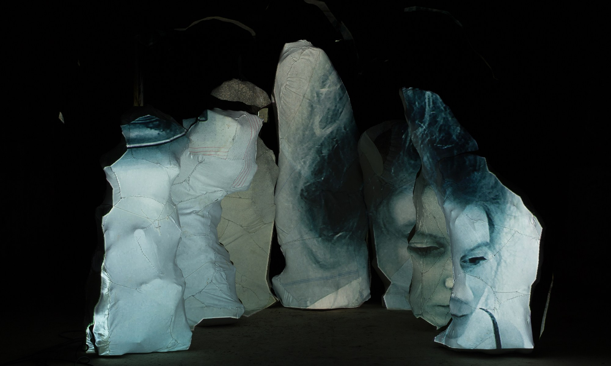 seven sculptures with double projection at La Brousse, Sers, France.