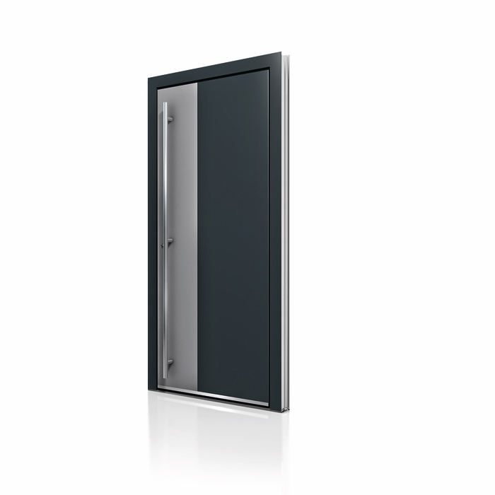 Black Grey Aluminum Entrance Door AT 400 NeuFenster Windows and Doors