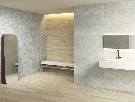 Reims gris + Narbonne gris. Floor Tiles: Sherwood Haya