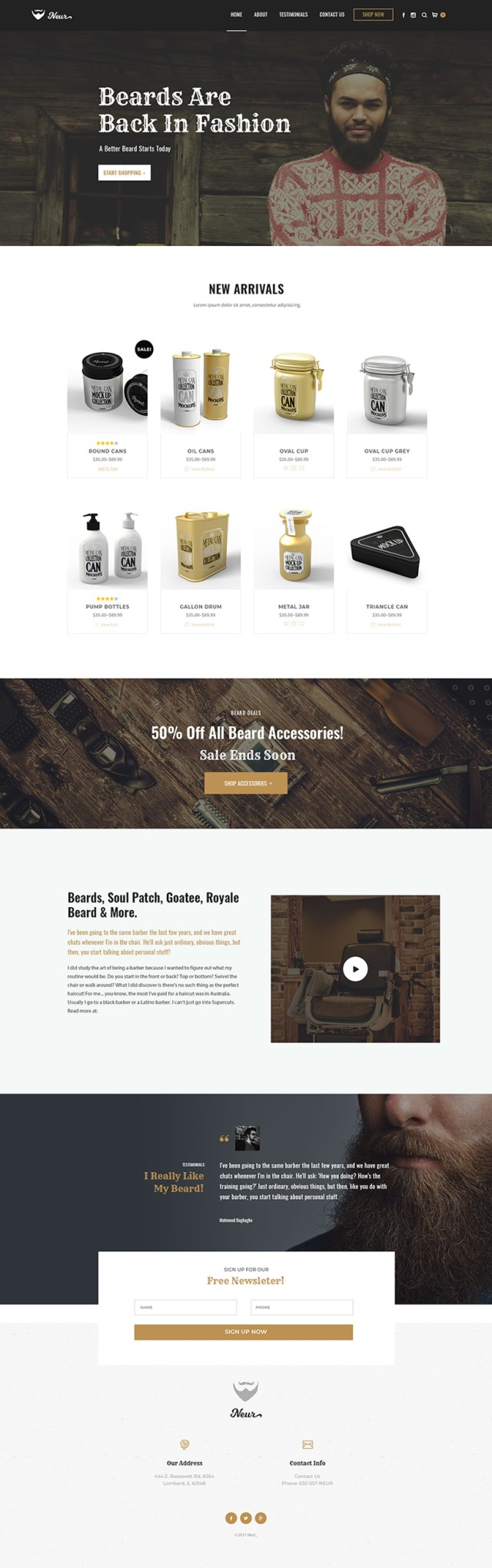 Beard Oil WordPress Website Design Mockup