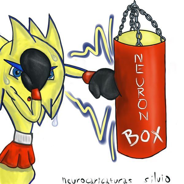 A neuron goes boxing to show the effects of sport on the nervous system