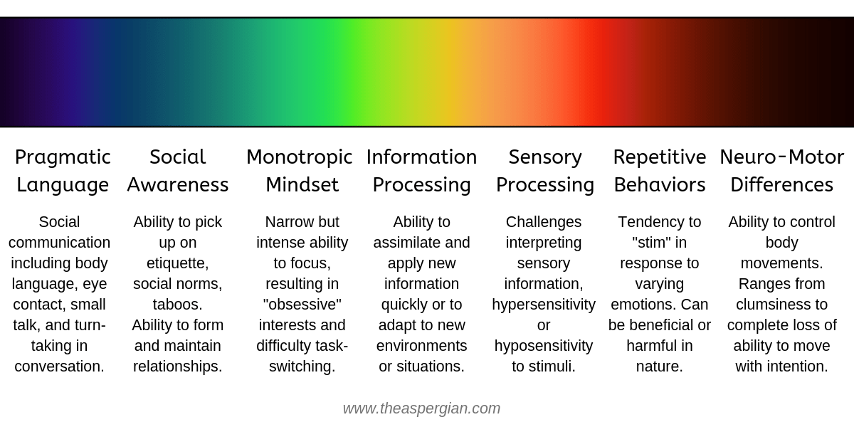 "The spectrum of light with descriptions at the bottom from left to right with different categories. From left to right: Pragmatic language (social communication including body language, eye contact, small talk, and turn-taking conversation), social awareness (ability to pick up on social etiquette, social norms, taboos. Ability to form and maintain relationships), monotropic mindset (Narrow but intense ability to focus, resulting in ""obsessive"" interests and difficulty task-switching), information processing (ability to assimilate and apply new information quickly or to adapt to new environments or situations), sensory processing (challenges interpreting sensory information, hypersensitivity or hyposensitivity to stimuli), repetitive behaviors (tendency to ""stim"" in response to varying emotions. Can be beneficial or harmful in nature), neuro-motor differences (Ability to control body movements. Ranges from clumsiness to complete loss of ability to move with intention)."