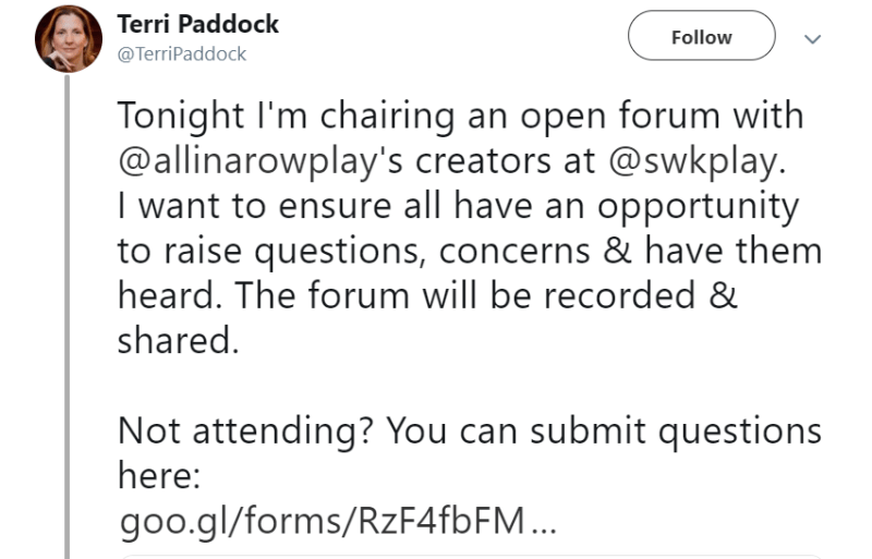 Tonight I'm chairing n open forum with allinaowplay's creators I want to ensure all have an opportunity to raise questions, concerns and have them heard. Not attending? You can submit questions here.