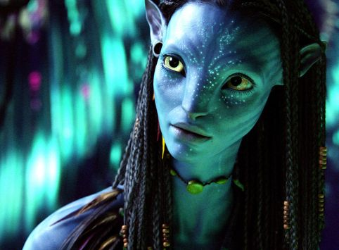 A screenshot of Neytiri, a Na'vi character from the 2009 film