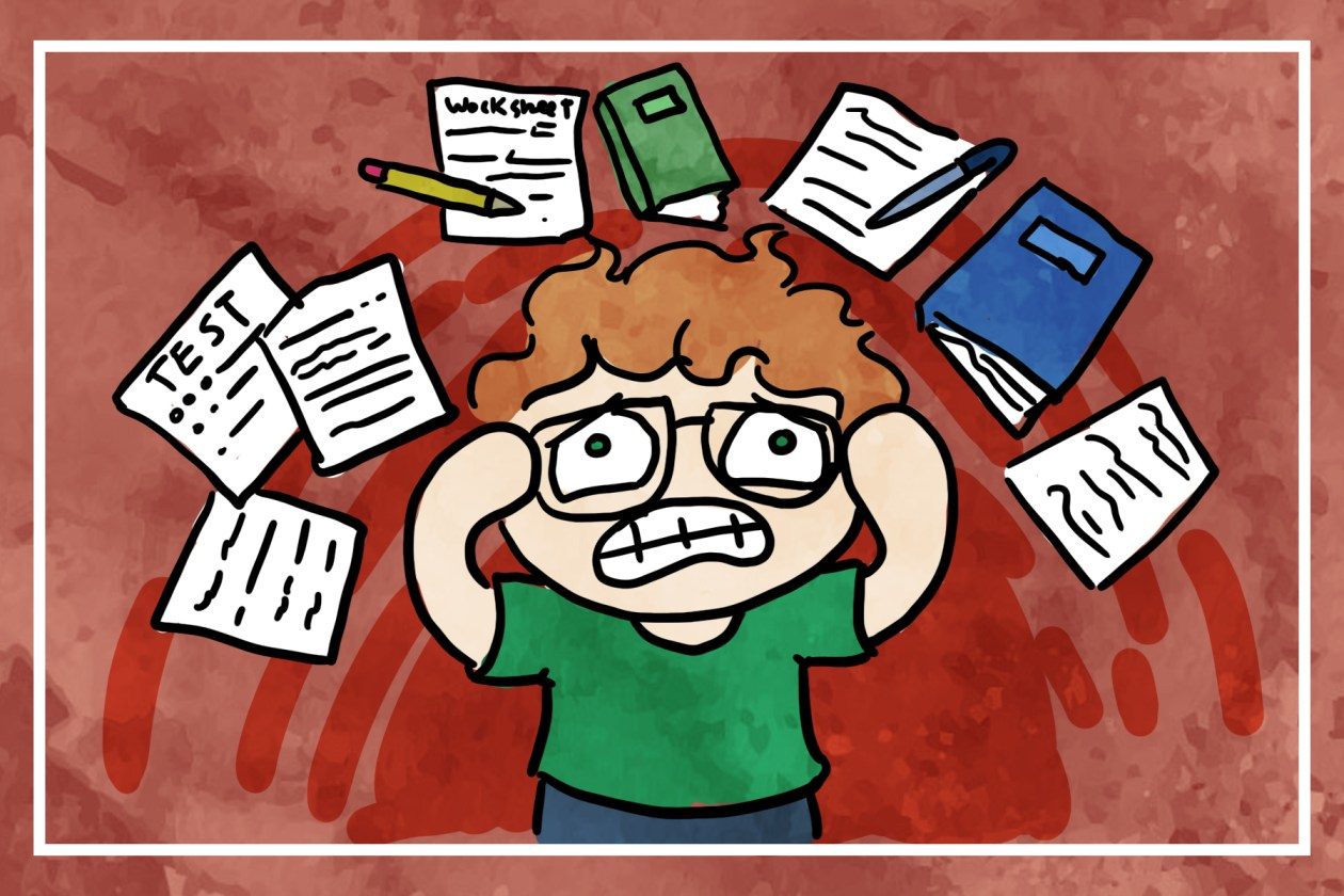 anxious cartoon author kid with notebooks, worksheets, and tests above their head.