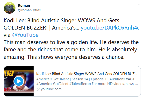 Kodi Lee: Blind Autistic Singer WOWS And Gets GOLDEN BUZZER! | America's... https://youtu.be/DAPkOxRnh4c via @YouTube This man deserves to live a golden life. He deserves the fame and the riches that come to him. He is absolutely amazing. This shows everyone deserves a chance.