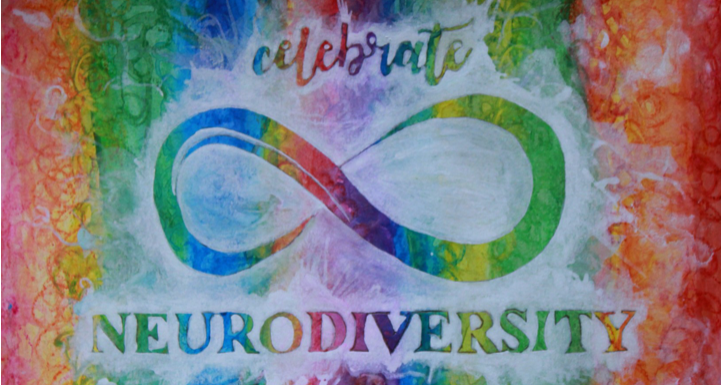 "the background has vertical watercolor stripes that blend together in a rainbow pattern. The foreground shows the neurodiversity infinity symbol, with the word ""celebrate"" above and ""neurodiversity"" below, from white semi-transparent acrylic paint. It looks like a white splash on a rainbow background with the words and symbols unpainted, so that the words and symbol have the same rainbow coloring as the background via negative space."