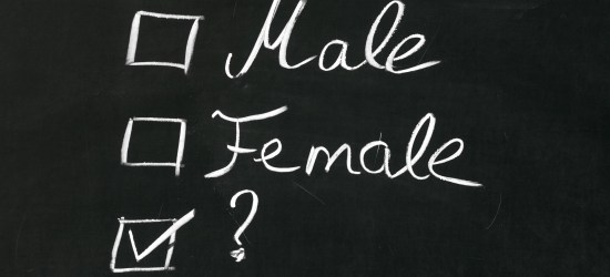 Chalkboard with checkboxes next to Male, Female, and ? The question mark is checked.