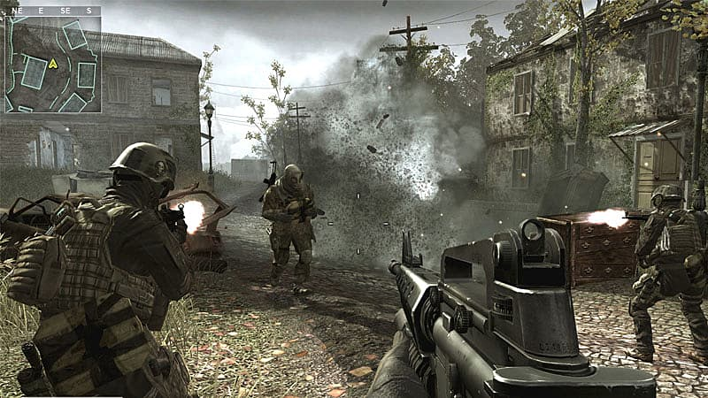 Screenshot of a realistic battle scene in a European village. The perspective is in first person.
