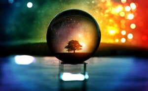 photo of a sparkling background. there is a tree in focus inside a crystal ball on a prism block.