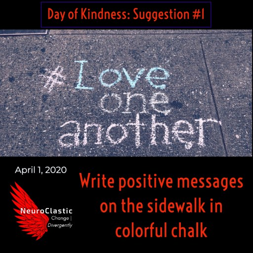 image suggesting to write positive messages on the sidewalk