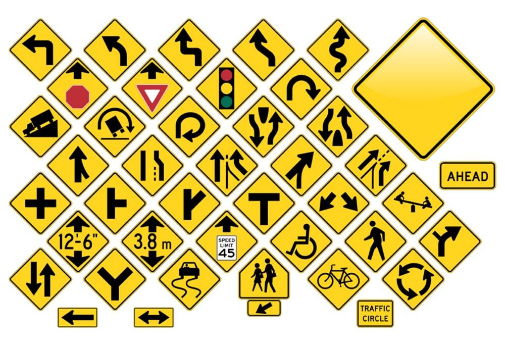 A block of random, uncommon road signs