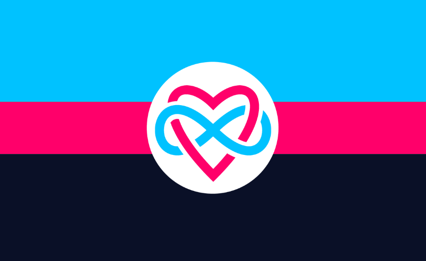 NEW Blue, Pink, black polyamory flag with white circle in the middle, containing a pink heart and blue infinity