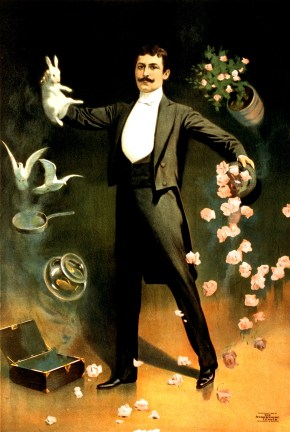 Zan_Zig_performing_with_rabbit_and_roses,_magician_poster,_1899-2 wikimedia