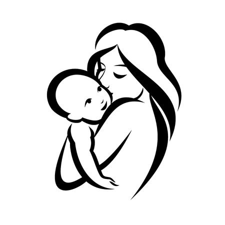 37616616-stock-vector-mother-and-baby-stylized-vector-symbol