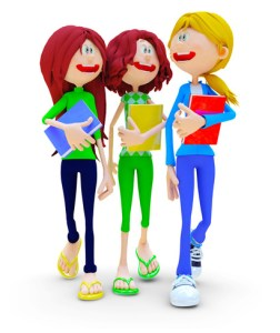 3D female students