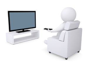 3d white human sitting in a chair and watching TV