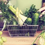 Woman taking fresh produce out of basket