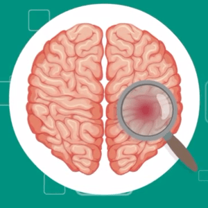 Illustration of cross-section of brain with magnifying glass