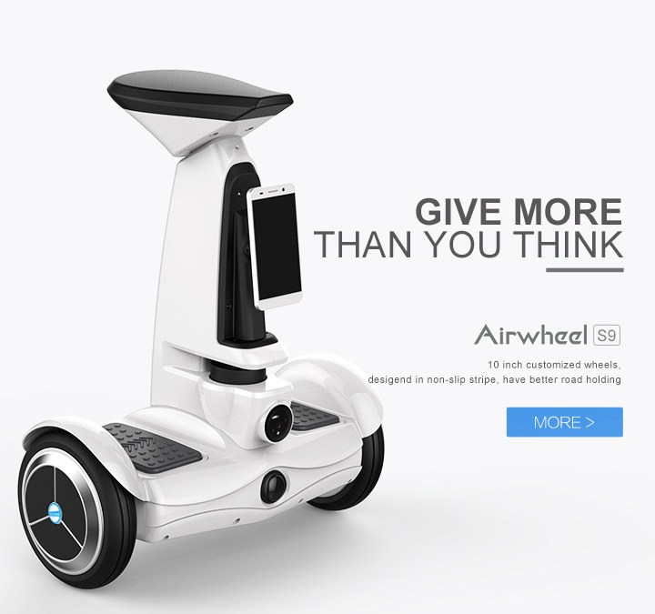 Airwheel S9 has the most advanced Airwheel electric robots with wheels for safe and intelligent trip