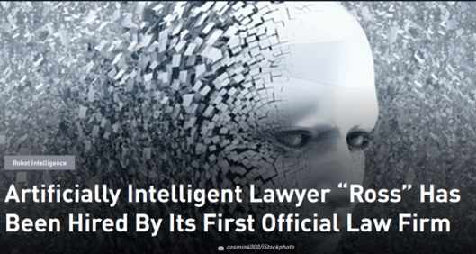 Law Firm Hires 'Ross' An Artificial Intelligence Lawyer