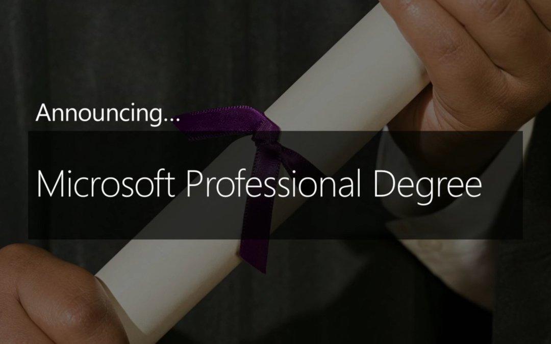 Microsoft announces new Microsoft Professional Degree program