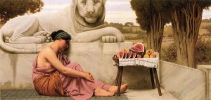 The image is The Fruit Vendor by  painter J W Godward. The image shows a woman sleeping next to a statue of a lion and a table of fruit.