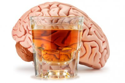 This image shows a brain with a glass of an alc