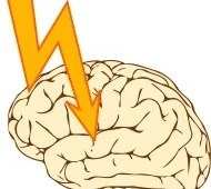 The illustration shows a lightening bolt hitting the brain.