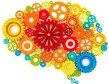 The image shows a brain made up of colorful gears.