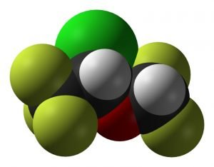 This is a representation of the molecular structure of Isoflurane.