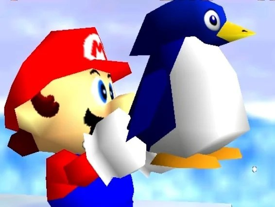 The image shows super mario holding a penguin.