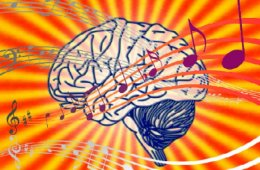 This image is a drawing of a brain with musical noted on it.