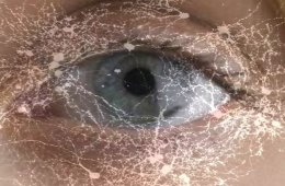The image shows a human eye with little white neurons drawn over it.