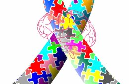 This image shows the autism ribbon and a brain.