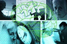 The image shows aging people and a brain.